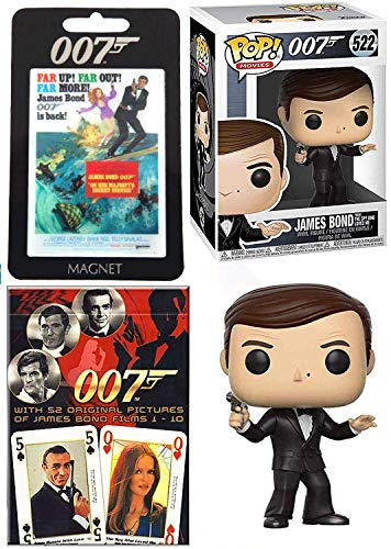 Far Out James Bond Moore Figure 007 Vinyl Spy who Loved me Pop Character Bundled with On Her Majesties Secret Service Magnet & Theme Deck Cards Collectibles 3 Items