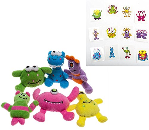 Fun Express Plush Monsters and Monsters Temporary Tattoos 84 Piece Bundle (Theme Monster)