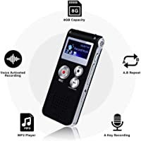 Mini Voice Recorder for Lectures Meetings&Class -KINOEE 8GB Digital Activate Audio Tape Recording Device with Double Sensitive Microphone&MP3 Playback