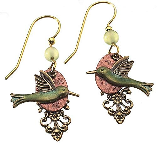Silver Forest Hummingbird Dangle Earrings One Size