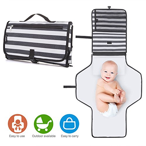 Portable Baby Changing Pad, LCARY Waterproof Travel Diaper Changing Station Kit with Pillow & 3 Pockets, Diaper Change Mat Bag for Toddlers Infants and Newborns