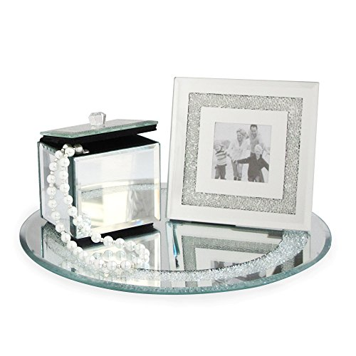 Emenest Mirrored Vanity Set – Jewelry Box, Picture Frame, and Tray – Glass Mirror Design Accents For Dressers, Bedroom,Living Room, and Home Décor (3 Piece Set)