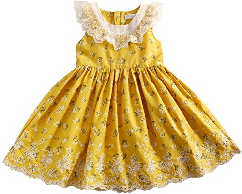 Sharequeen Flower Lace Rose Embroidery Cotton Girls Dress Ruffle Design Childrens Dresses With Lining Yellow Color 3-4 Old Size