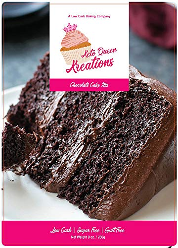 (Keto Queen Kreations, Low Carb (1 net), Sugar Free, Keto, Chocolate Cake Mix 9 oz. (12 Servings))