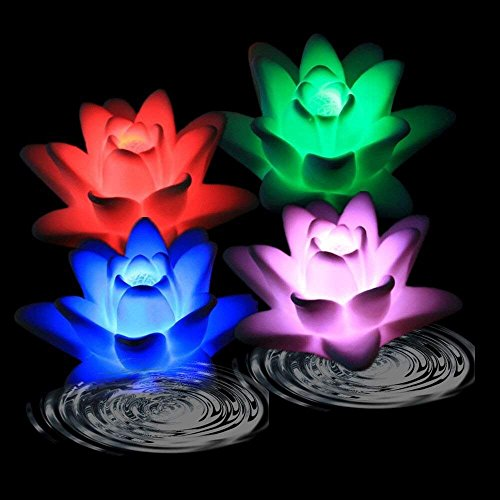 TOPPER SHOW LED Floating Candle Light - 4Pcs Waterproof Rose-Shape & Lily Flower Color Changing Tealight Night Light Flameless Candle (Floating Lily Light)