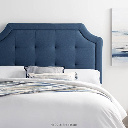 Brookside Upholstered Scoop-Edge Headboard with Square Tufting - King/California King - Navy