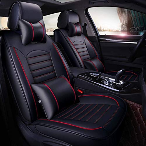 Car seat covers, universal leather, 5 breathable front seats and back seats with cushions (Color: Black):