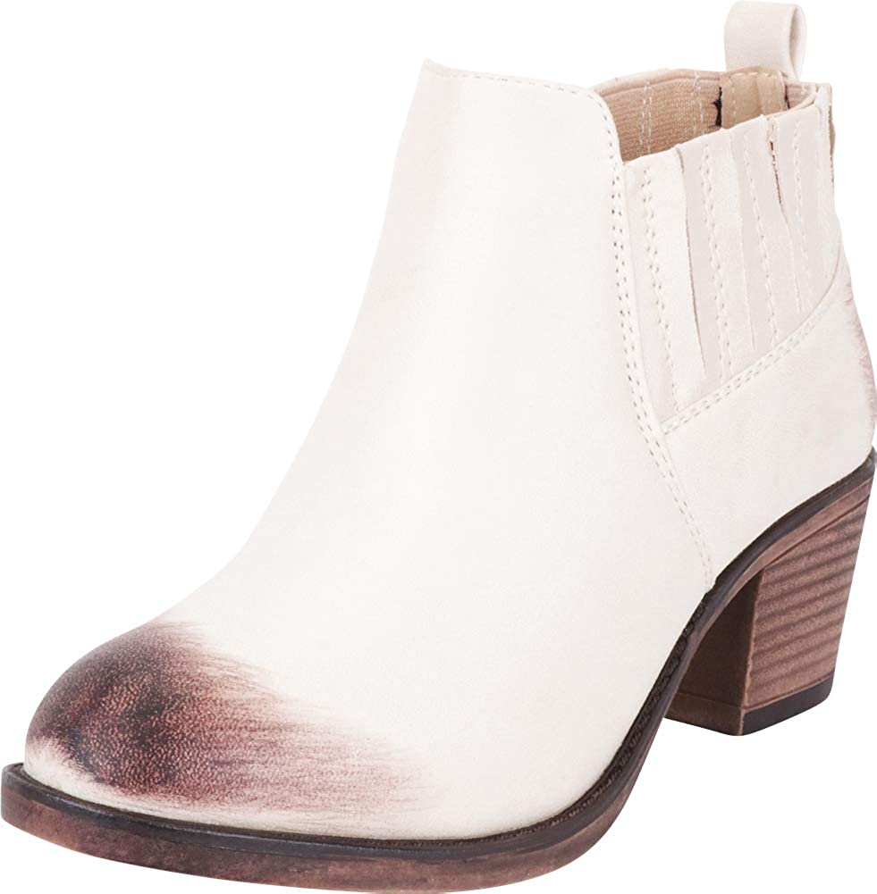 Beige Pu Cambridge Select Women's Western Distressed Stretch Chunky Stacked Heel Ankle Bootie