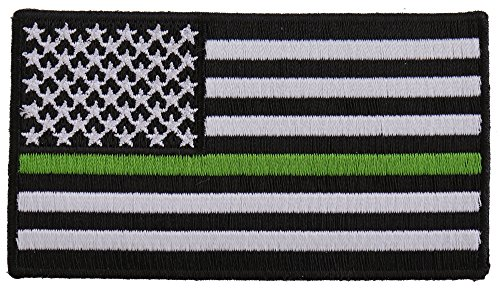 Subdued Green Stripe American Flag Patch - 3.5x2 inch