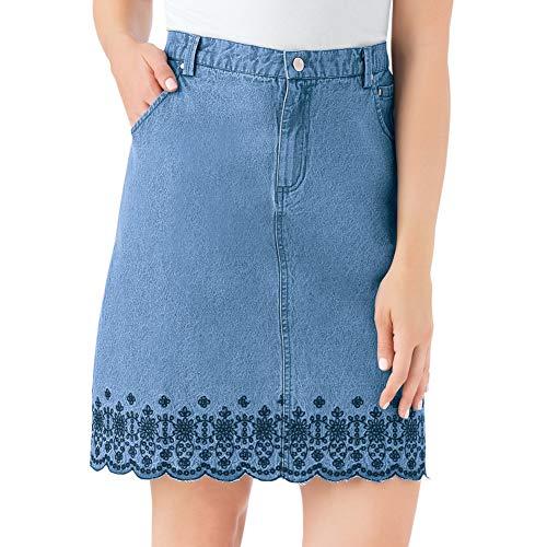 - Women's Trendy Embroidered Floral Border Scalloped Denim Skirt with Elastic Waistband, Denim Blue, Large