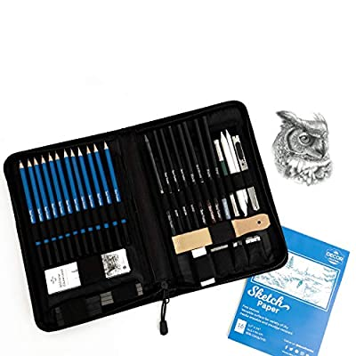 Graphite Drawing Pencils and Sketch Set by Decor Frontier - Kit Includes Charcoals, Pastels, Sharpener, Eraser, Craft Knife, Sandpaper Block and Carrying Case - Handy Pop-Up Stand for Easy Access