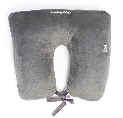 daydream 2-in-1 Grey Travel Neck Pillow with Microbeads