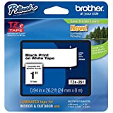 Brother TZe251 24mm Laminated Tape (Black on White)