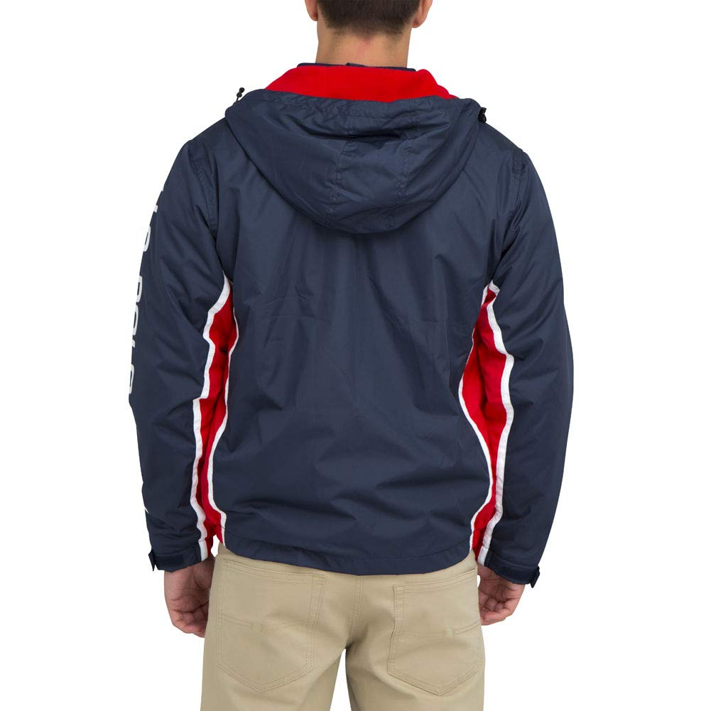 US Polo Assn. Mens Tri Color Windbreaker Light Jacket Hood