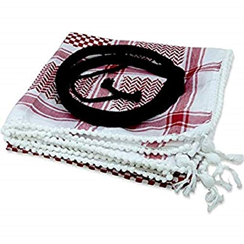 Authentic Large Middle Eastern Arab Kafiya Keffiyeh with Aqel Rope by Bethlehem Gifts TM (Red/White)