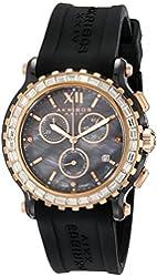 Akribos XXIV Women's AK545BK Swiss Quartz Chronograph Ceramic Rubber Strap Watch