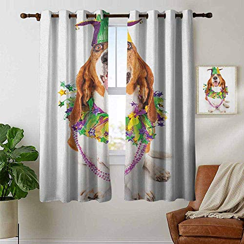 petpany Window Curtains Mardi Gras,Happy Smiling Basset Hound Dog Wearing a Jester Hat Neck Garland Bead Necklace, Multicolor,Tie Up Window Drapes Living Room 42