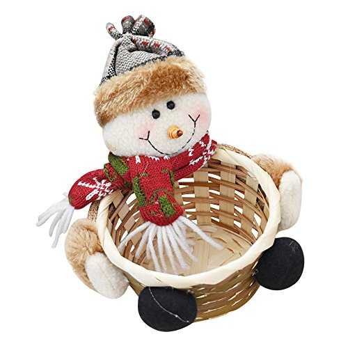 Willsa Cute Exquisite Christmas Candy Storage Basket Decoration Santa Claus Storage Basket -