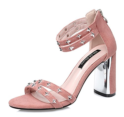 Aisun Women's Sexy Studded Open Toe Dress Zip Up Chunky High Heel Ankle Strap Sandals Pink