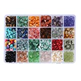 Efivs Arts Natural 24 Assorted Irregular Chips Stone Gemstone Beads Crushed Chunked Crystal Pieces Loose Beads for Jewelry Making