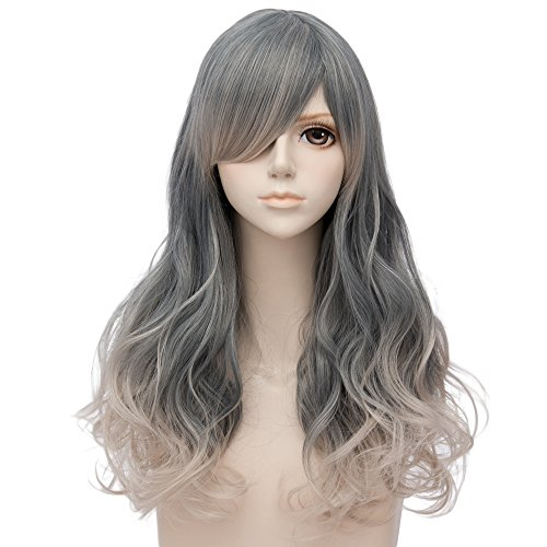 Wimepom Costume Fashion Wavy Long Hair Wigs for Cosplay Halloween Party Wedding Daily Use Natural and Healthy,Gray by Wimepom