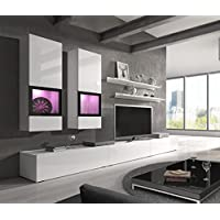 Barbos Modern Entertainment Center / Contemporary wall units with LED Lights / Color White