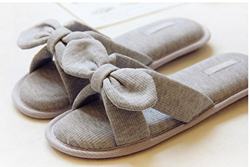 Women Ladys Slip-on Soft Warm Cotton Anti-skid Indoor Slippers Scuff Home Bedroom Footwear Shoes Grey Bowknot 1CsVEwrH