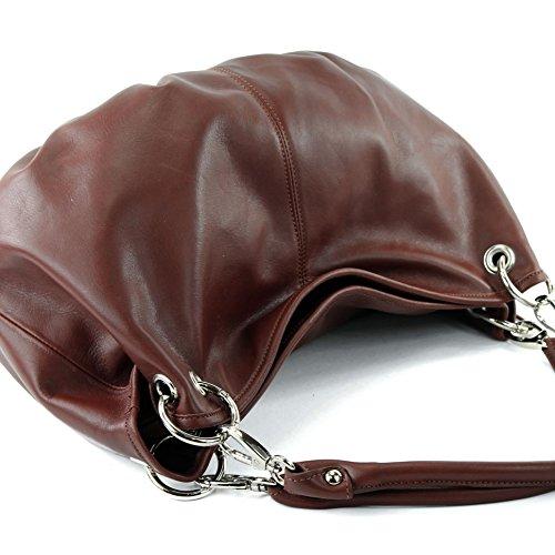 Made Italy - Bolso al hombro de cuero para mujer marrón castaño