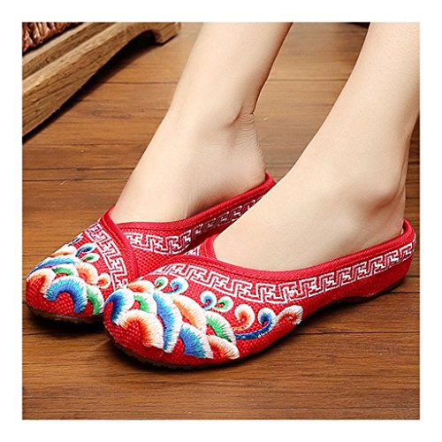 Vintage Old Cloth Shoes within red 39 Embroidered Increased Beijing Sandals wxfqBYHg