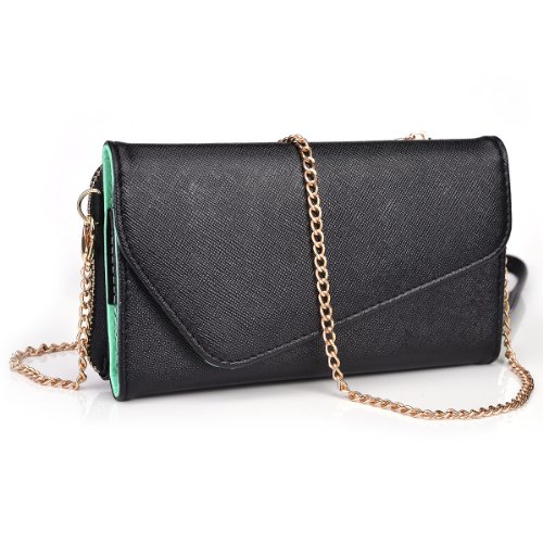 Kroo Clutch Wallet with Wristlet and Crossbody Strap for Smartphones or Phablets up to 5.7 Inch - Carrying Case - Frustration-Free Packaging - Green