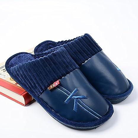LaxBa Invierno patinar en zapatillas piel falsa nieve forrada caliente Zapatos para hombres plana con blue300