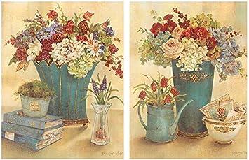 Dcine Cuadro de Flores Rojas. Set de 2 Unidades de 19x25 cm Cada Cuadro