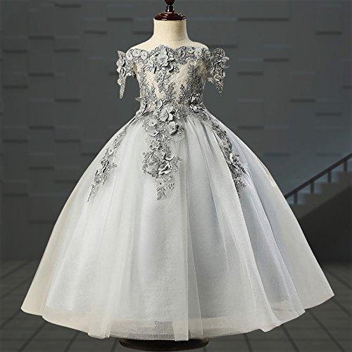 Festlich Applique Misshow Hochzeit Grau Blumenmädchen Mädchen Party Prinzessin Tüll Perle wvqq1Bgx