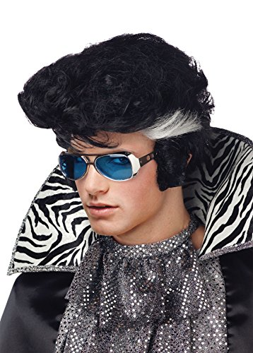 UHC Elvis Vegas Bouffant Style Sideburns Rock Star Black Wig Halloween Accessory -