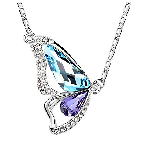[The Starry Night Color Crystal Butterfly Lovers Diamond Accented 18k Insect Necklace for Fashion Womens] (Parrot Costume Female)