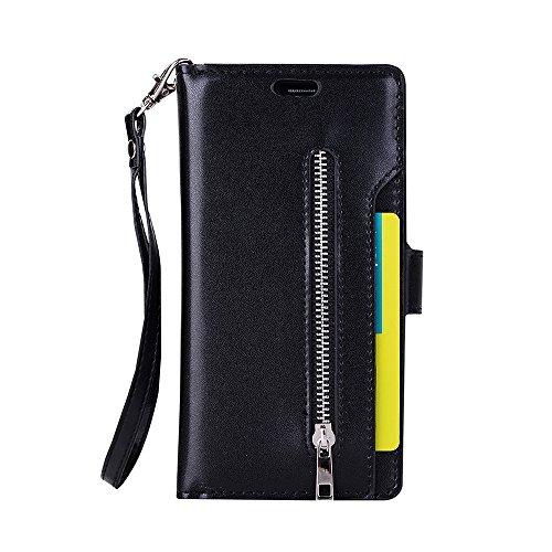 Galaxy S7 Edge Wallet Case, Leather [9 Card slots] [photo & wallet pocket] (Black)