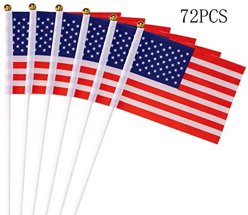 Moon Boat Fourth/4th of July American Stick Flags - Patriotic Party Decorations Supplies Favors