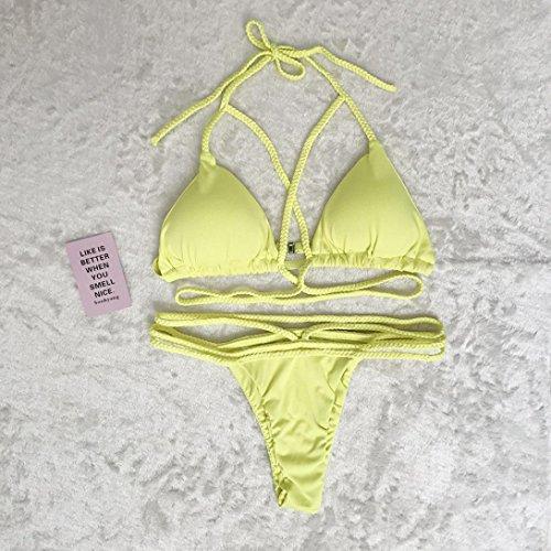 schienale BYSTE Coordinati Tessitura Harness Beachwear Thongs senza da da Giallo bagno Bandage Costumi bagno Donna bras Bikini Swimsuit Sexy Costume xTqEYwBx