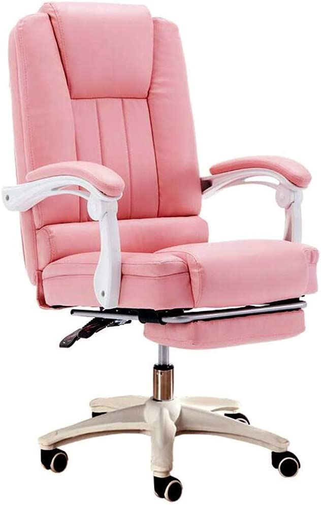 KMMK High-Back Pink Office Chairs With Footrest