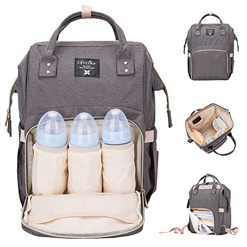Baby Backpack Diaper Bag - Lifecolor Diaper Bag Multi-functional Nappy Bags Waterproof Travel Mom Backpack for Baby Care, Large Capacity, Stylish and Durable(Gray)