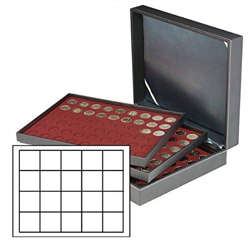 Lindner 2365-2720E Münzkassette NERA XL mit 3 Tableaus und dunkelroten Münzeinlagen mit 60 quadratischen Fächern für Münzen/Münzkapseln bis Ø 47 mm