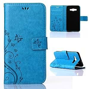 Funda Galaxy A3, JIAXIUFEN Flor Mariposa Funda de Cuero Piel Carcasas para Samsung Galaxy A3, Soporte Plegable, Cierre Magnético, Ranuras para Tarjetas (Azul)