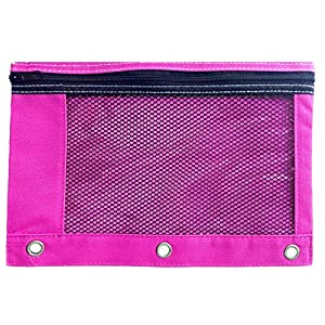 1 Pink Zippered Pencil Case by School Smarts – 3 Ring Pink Pencil Pouch for Binder with Mesh and plastic window. For Use in and Out of the Classroom.