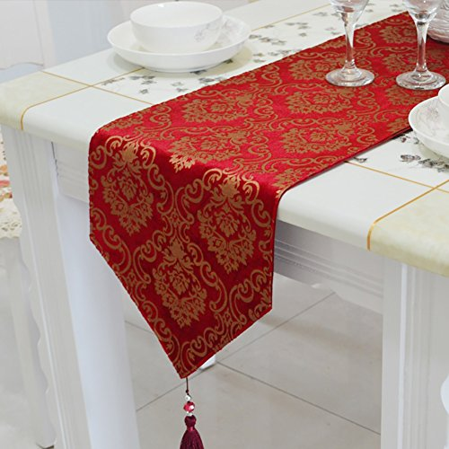 Table Runner Bronzing Red European Table Cloth Hand-beaded Tassels Tea Table Cloth TV Cabinet Cover Towel Shoes Cabinet Cover Cloth for Wedding (Size : ()