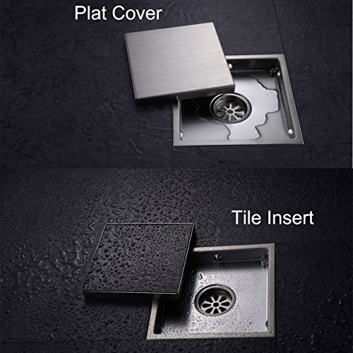 Hanebath 6 Inch Square Shower Floor Drain With Tile Insert