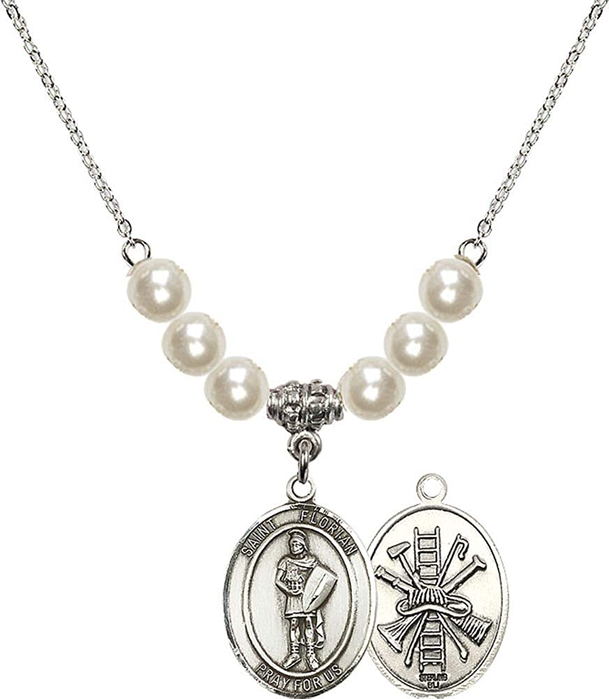 Bonyak Jewelry 18 Inch Rhodium Plated Necklace w// 4mm Faux-Pearl Beads and Scapular