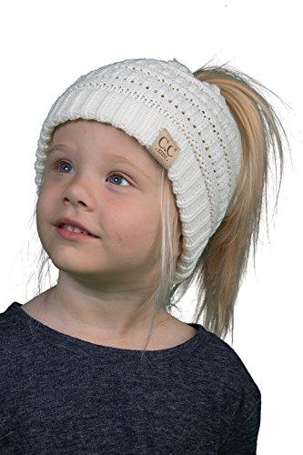 d93e3860364c BT2-3847-25 Kids Messy Bun Ponytail Winter Knit Hat Girls Beanie Tail -