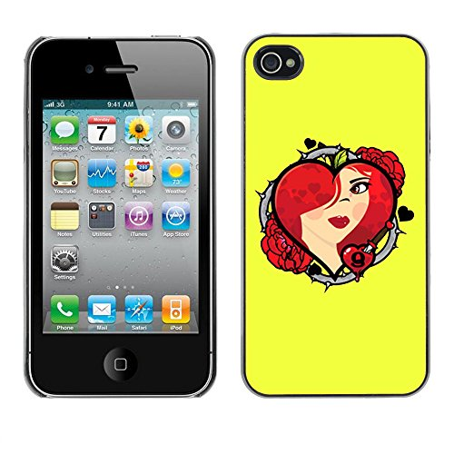 Heart & Roses - For Apple iPhone 4 / 4S