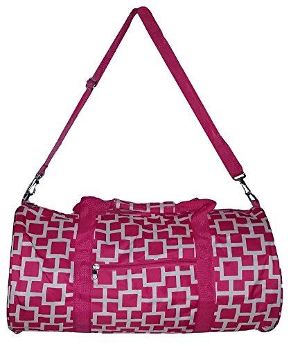 Fashion Medium Duffle Bag, Zipper Overnight Bag Dance Bag (Pink Geometric)