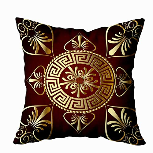 EMMTEEY Christmas Home Decor Throw Pillowcase for Sofa Cushion Cover, Mandala Ancient Greek Key Meander Circle Decorative Square Accent Zippered and Double Sided Printing Pillow Covers 16X16Inch